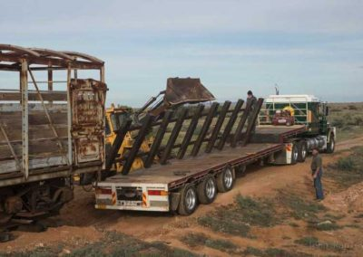 Second rail module being removed from the truck ready for placement behind the truck