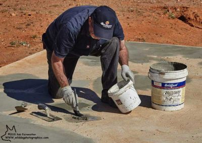 Steve Harding patching concrete.