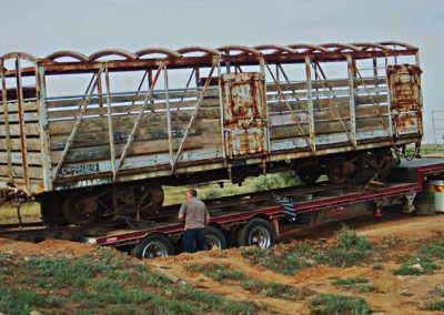 Unloading the cattle truck - matching the track height so that it will roll off