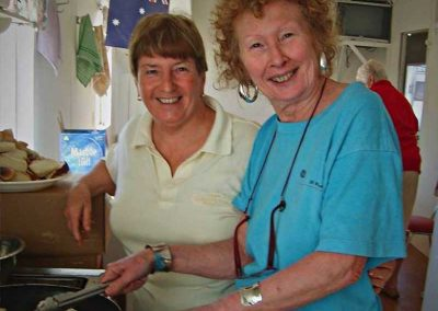 Bronwyn and Colynette preparing the dessert for first camp roast night.