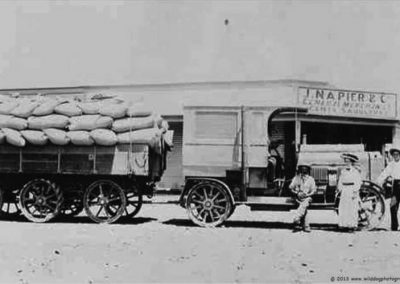 Renard road train in front of Napier's store