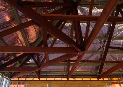Beautiful rafters will remain visible after ceiling installation.