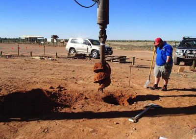 Footings being drilled