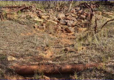 One of the numerous 100mm water pipes running near the erosion minimisation embankment